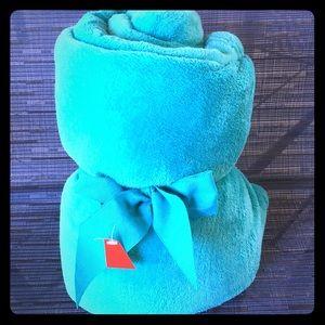 New Aqua Color Fleece Blanket Throw with Bow